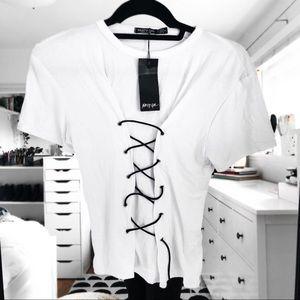 Nasty gal white and black Corset shirt sleeve